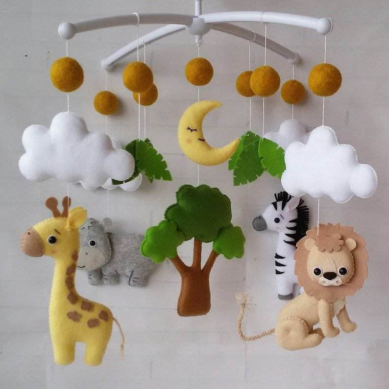 Felt safari baby animals mobiles, Jungle mobile, baby hanging mobile crib mobile