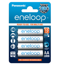 eneloop AA, 1900mAh Rechargeable Batteries, Pack of 4