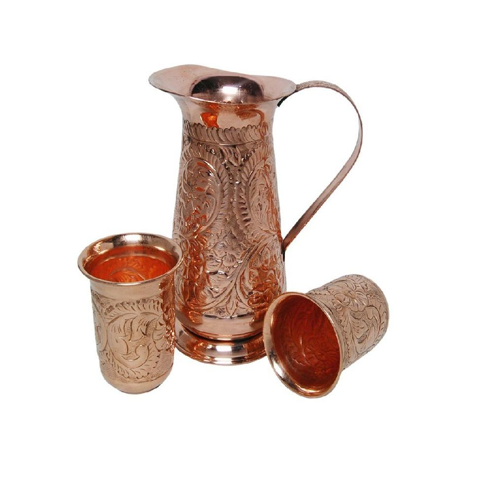 Pure Copper Jug Copper Wine Pitcher Jug For Bar or Party Decor Solid Handmade jug With Two Glass For Home Bar Kitchen