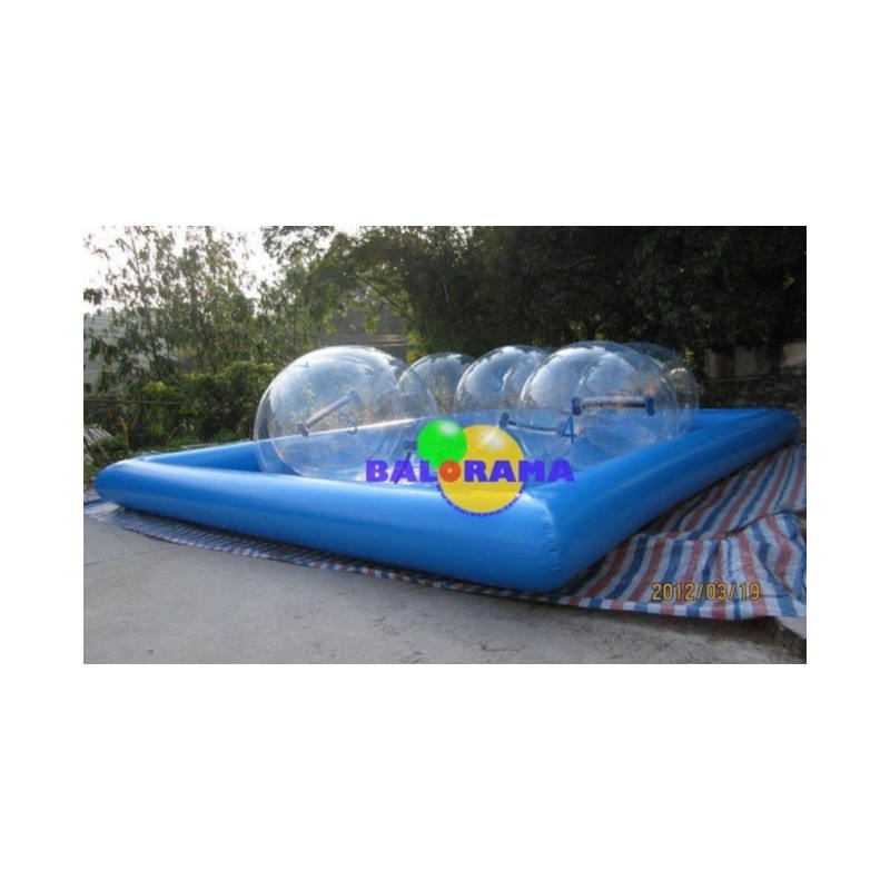 8X8 inflatable pool and 4 water ball, walking water ball