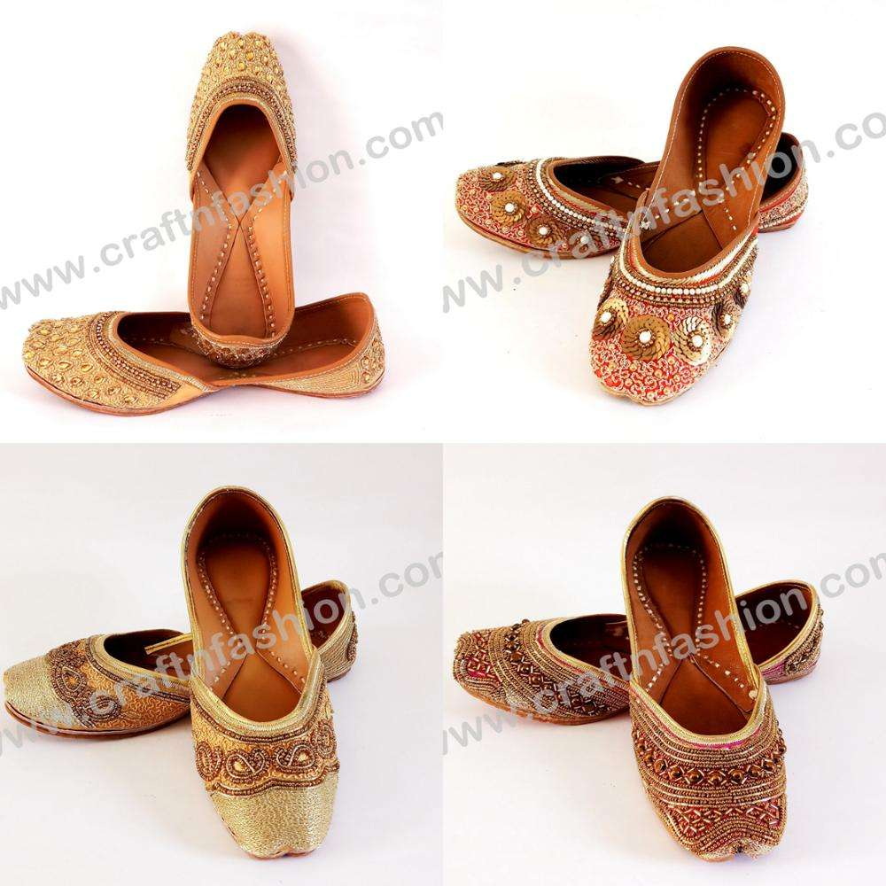 Women Fashion Wedding Wear Stone Work Jutti - Beaded Embroidered Jutti - Indian Mirror Work Women's Khussa Shoes/Mojari/Flats