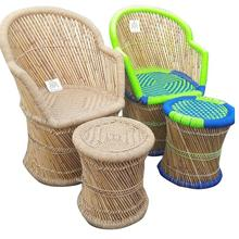 Ecofriendly Cane/Bamboo Dining Chair with Stool for Outdoor/Dining/Kitchen/Restaurant/Cafeteria