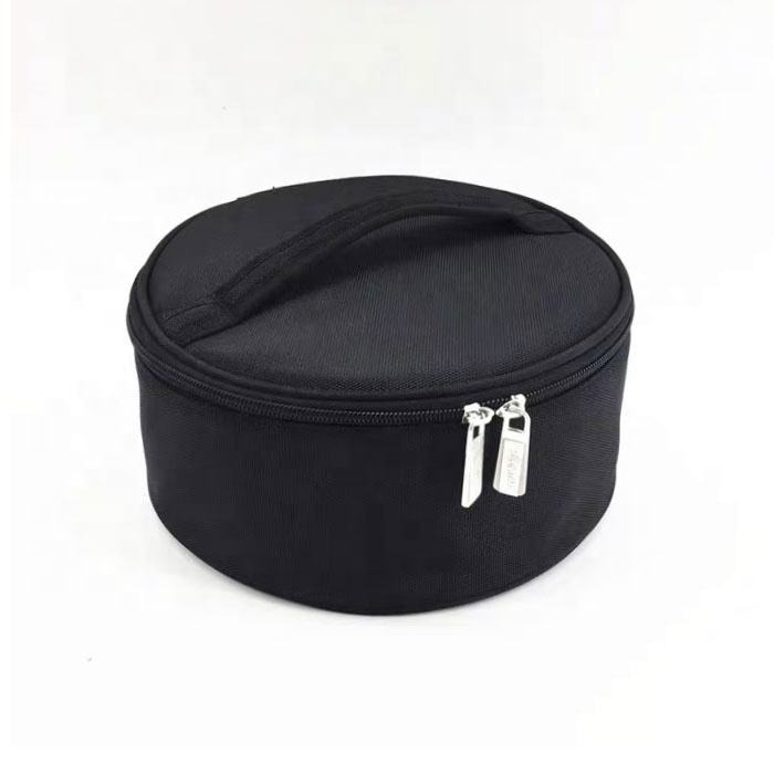 factory supplier round mini cosmetic storage makeup travel bag case with zipper