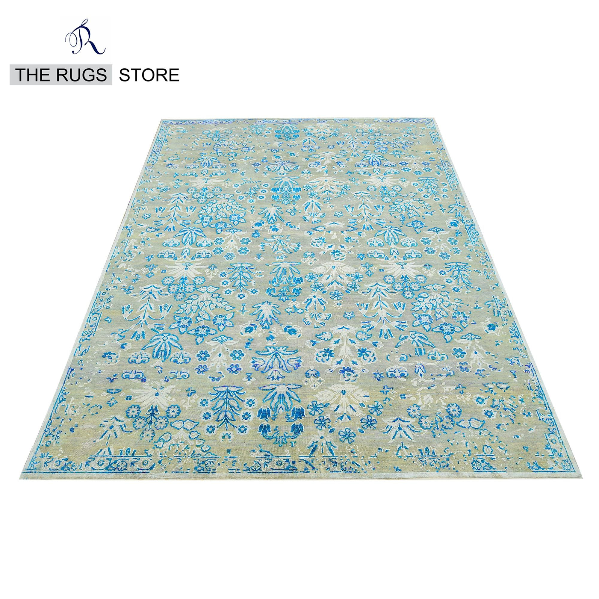 Floral Commercial Carpet White And Blue Area Rug 9x12 feet Handmade Wool Rug