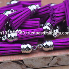 Imitation Leather Tassel with Silver Caps Bag Charms Pendant