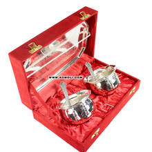 Silver plated handi tie bowls set traditional India wedding gifts for guests