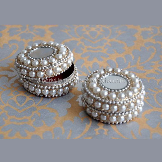 Sliver In Colour Embroidered Mirror Work Trinket Boxes Attractive Ring Jewelry Box
