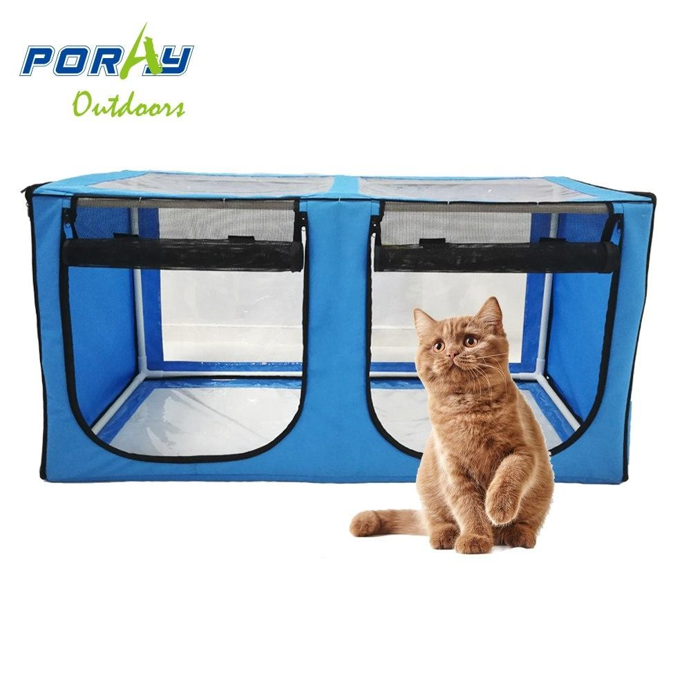 Double Cat Show House Portable Pet Kennel Shelter Twin cat enclosure tent