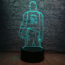 3D Basketball Player Kobe Bryant Jersey Sport LED Night Light Illusion Touch Bedroom USB Lamp Children Gift Table Decor Kid Toy