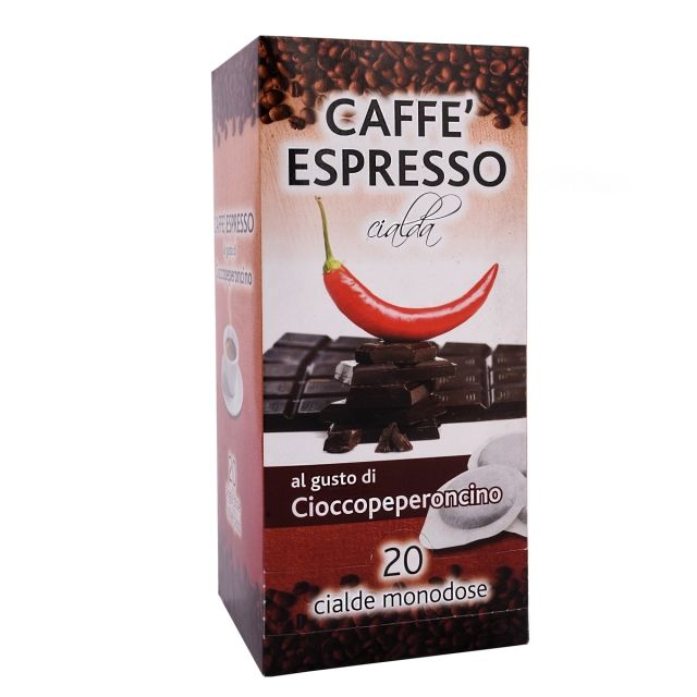 ITALIAN FLAVOR COFFEE PODS- 20 PODS BOX CHOCOLATE CHILI PEPPER - GROUND COFFEE PODS