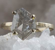 2.00 Carat 100% Natural Grey Rose Cut Antique Rustic Diamond Ring 14k Yellow Gold , Salt and pepper diamond ring 14k real gold