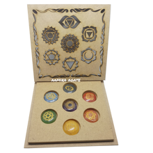 chakra stone with wooden box : chakra stone for healing Stone  wholesale price chakra set engraved