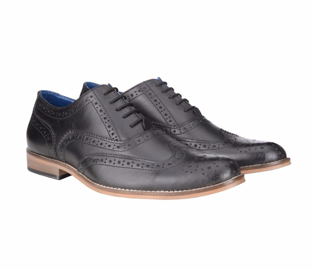 BXXY BLACK COLOR GENUINE LEATHER FULL WING BROGUE STYLE SHOES IN HANDMADE SOLE SIZES 40-48
