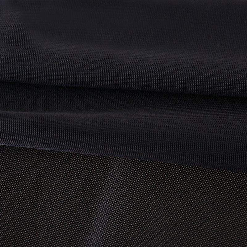 Polyester / Lycra Black Color Breathable Elastic Fabric Spandex