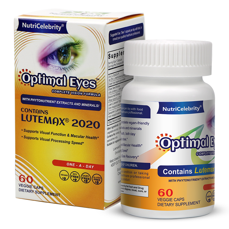Optimal Eyes - Organic- Natural Eye Vitamins - With Marigold Lutein and Black Currant - Lutemax Zeaxanthin - Eye Health and Macu