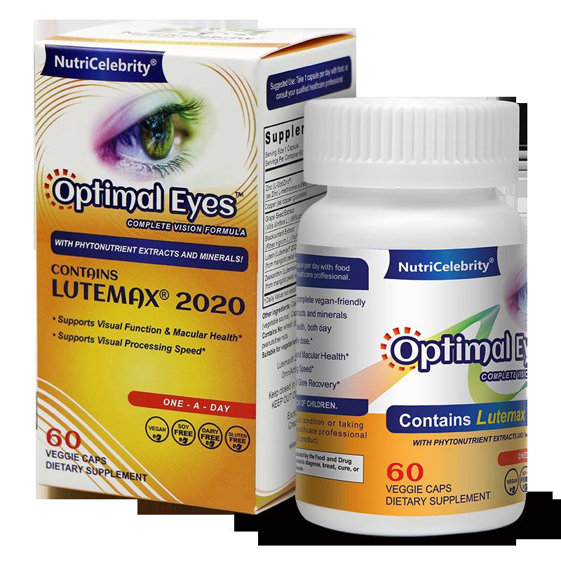 Optimal Eyes - Organic- Natural Eye Vitamins - With Marigold Lutein and Black Currant - Lutemax Zeaxanthin - Eye Health and Macu