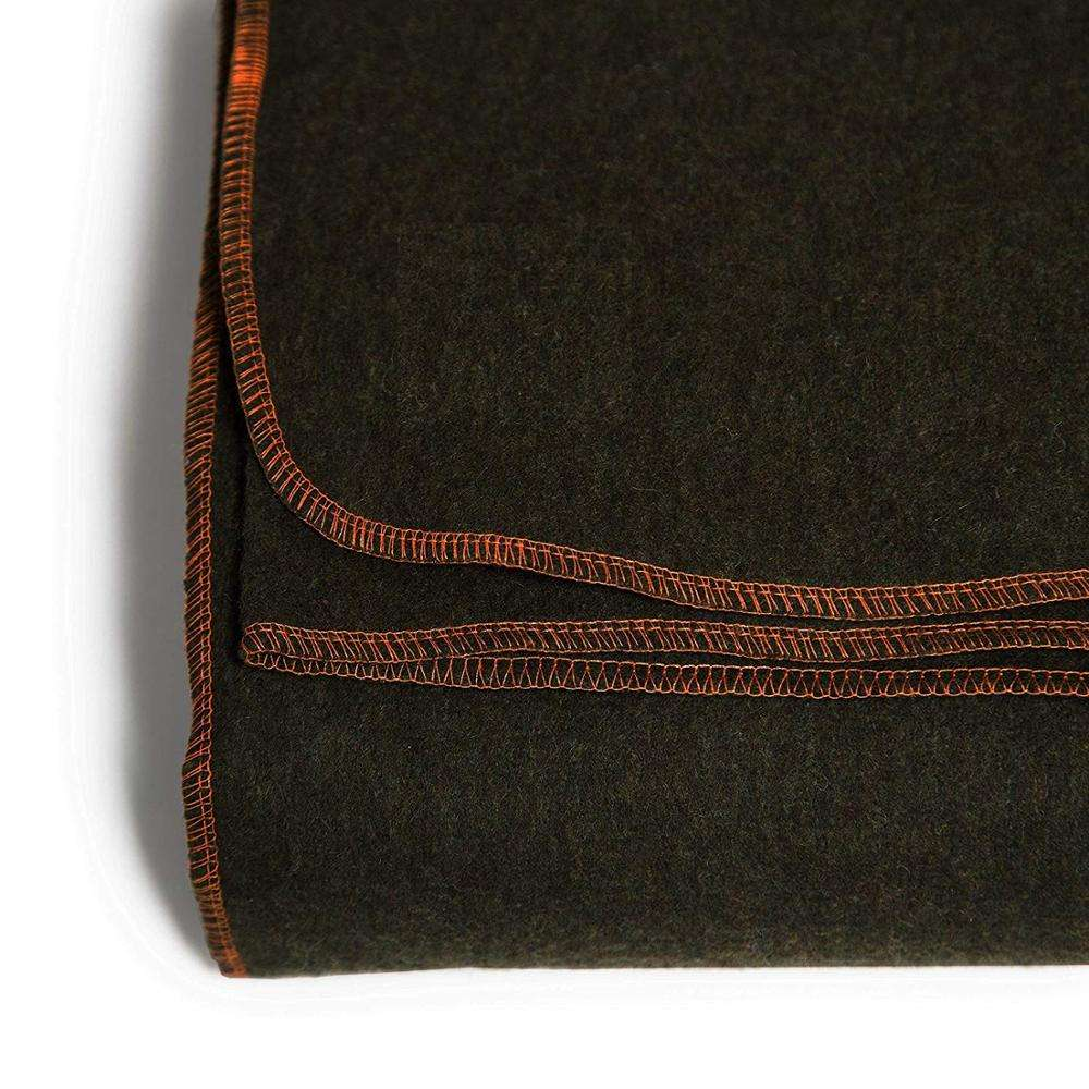 80% Wool Olive Green Blankets with orange Stitching, Military Olive Green Wool Blankets Made In India