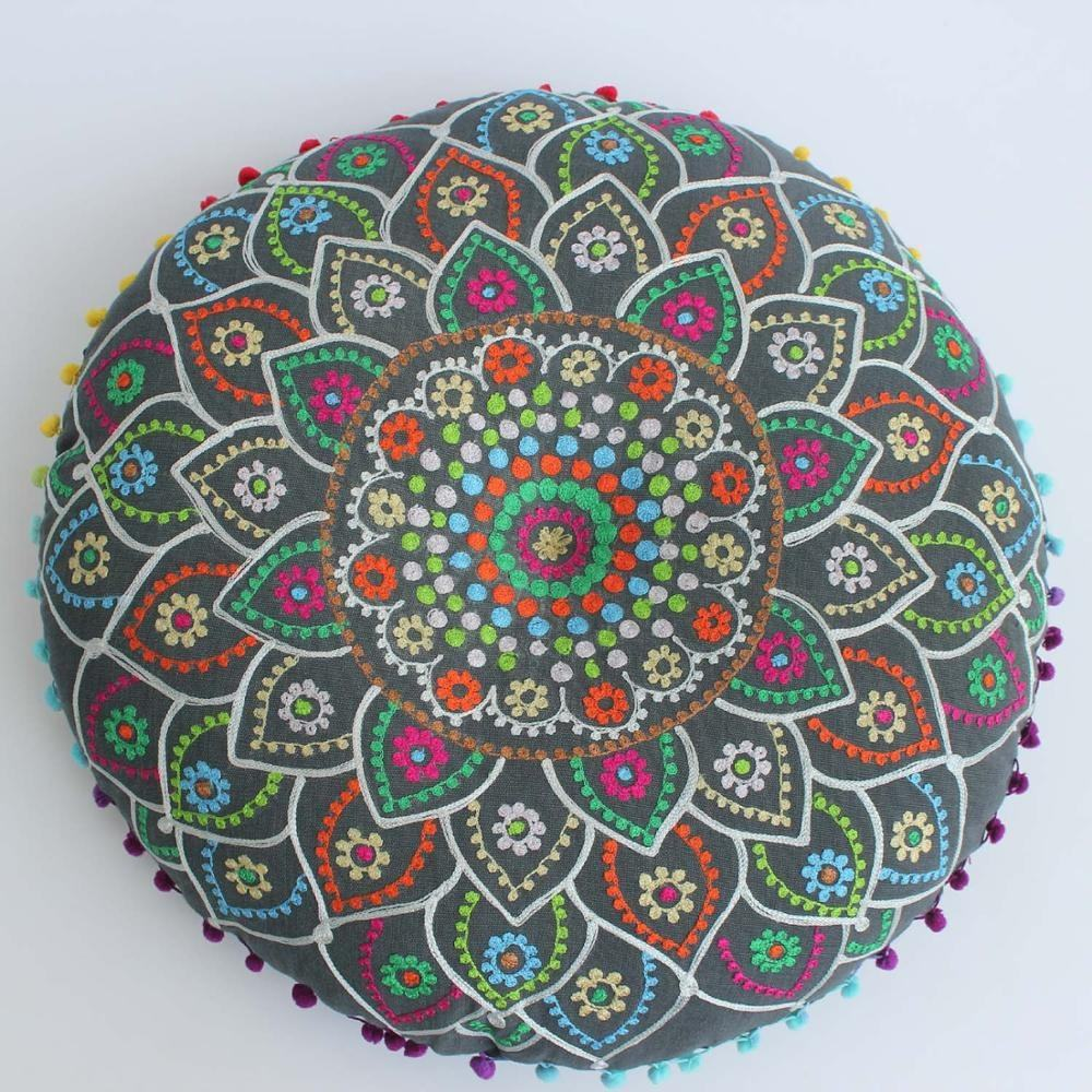 Wholesale custom embroidery cushion covers yoga pillow new design yoga meditation round cushion