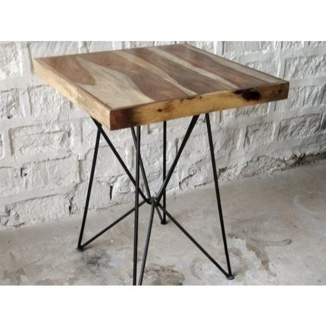 New Industrial Natural Sheesham Wood Iron Base Hair Pin Coffee Table