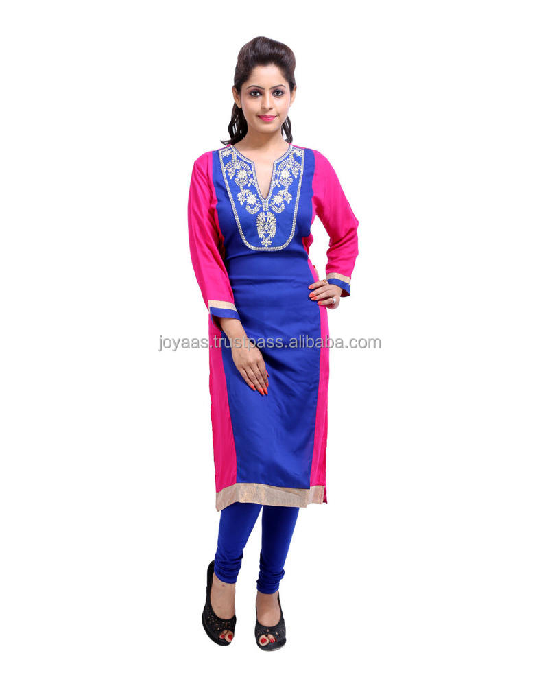 Floral Embroidered Cotton Long 3/4th Sleeves V Neck kurti With Jacket Latest Design