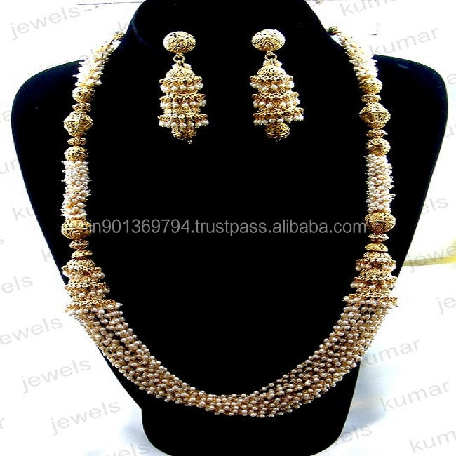 Long Rani Haar Sleek Simple Pearl Beaded 22kt Gold Polished Indian Traditional Antique Golden Artificial 2020 Necklace Set