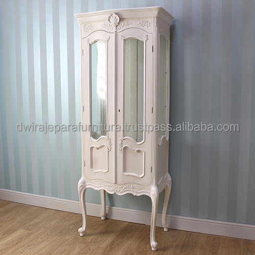 French Livingroom Showcase Cabinet 2 Glass Door - Classic Mahogany Furniture Indonesia