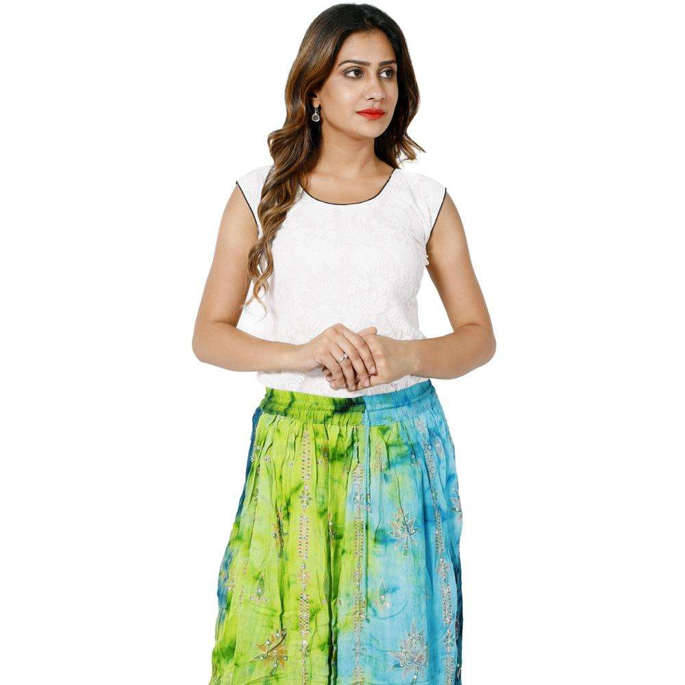 Multi color club wear high waist skater sequins tie dye hand embroidery hippie long belly dance dress skirt