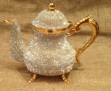 TEAPOT,COFFEE POT,Milk Pot,Decorated crystal and beads covered gold