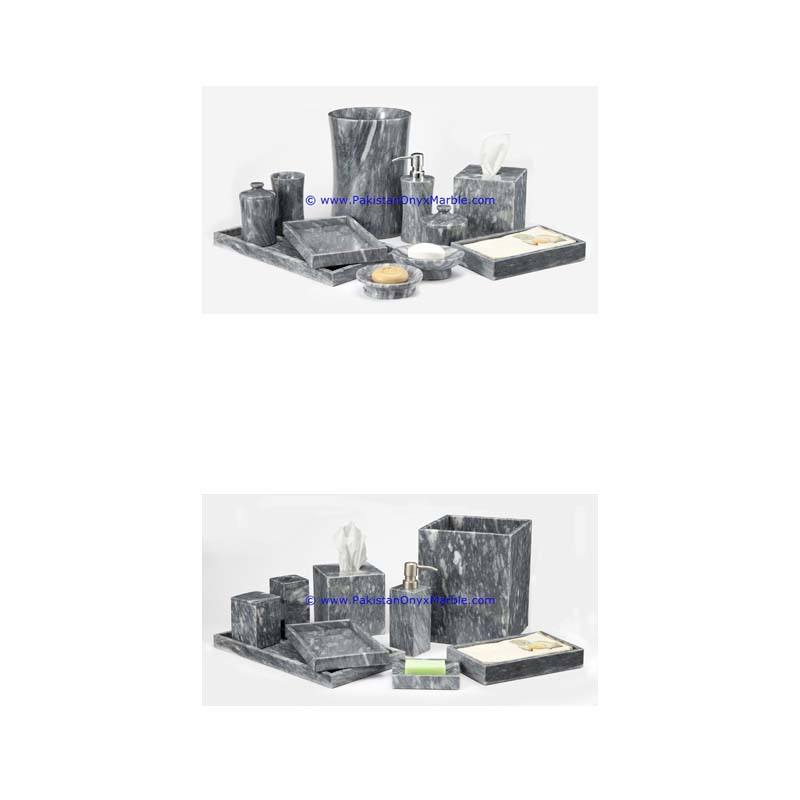 Modern Design marble bathroom accessories set gray tumbler, tooth brush, tissue box, holder, soap pump, dish, dustbin, tray