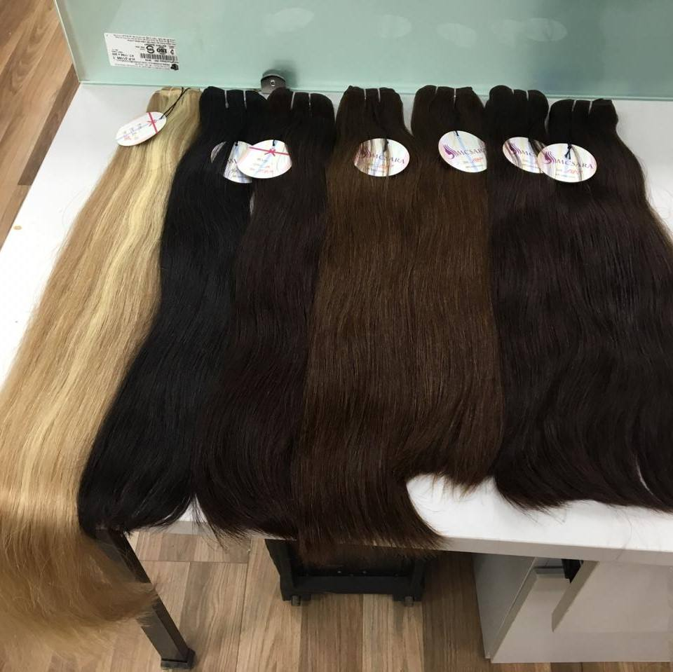 Cuticle aligned hair Big sale of bundle straight raw weft with closure straight blond, straight texture from Mcsara