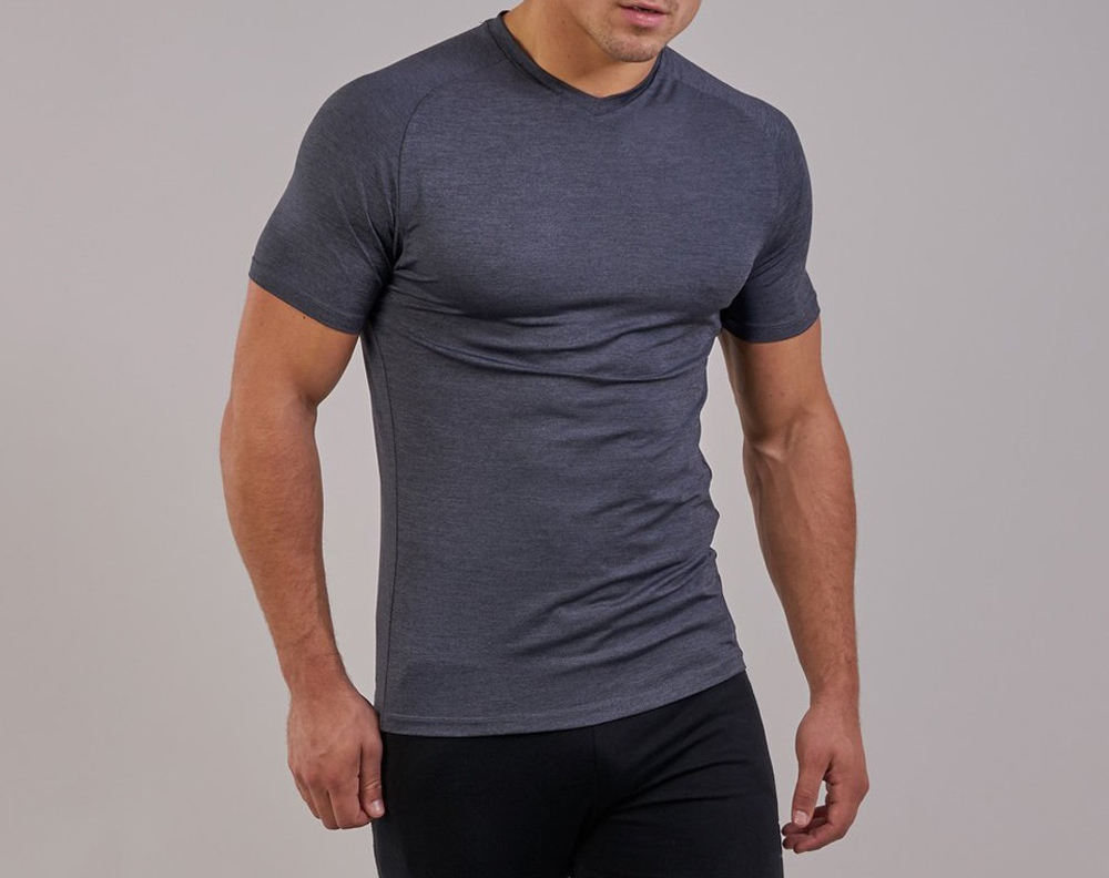 Gym fitness t shirts muscle fit men grey t shirts quality wholesale