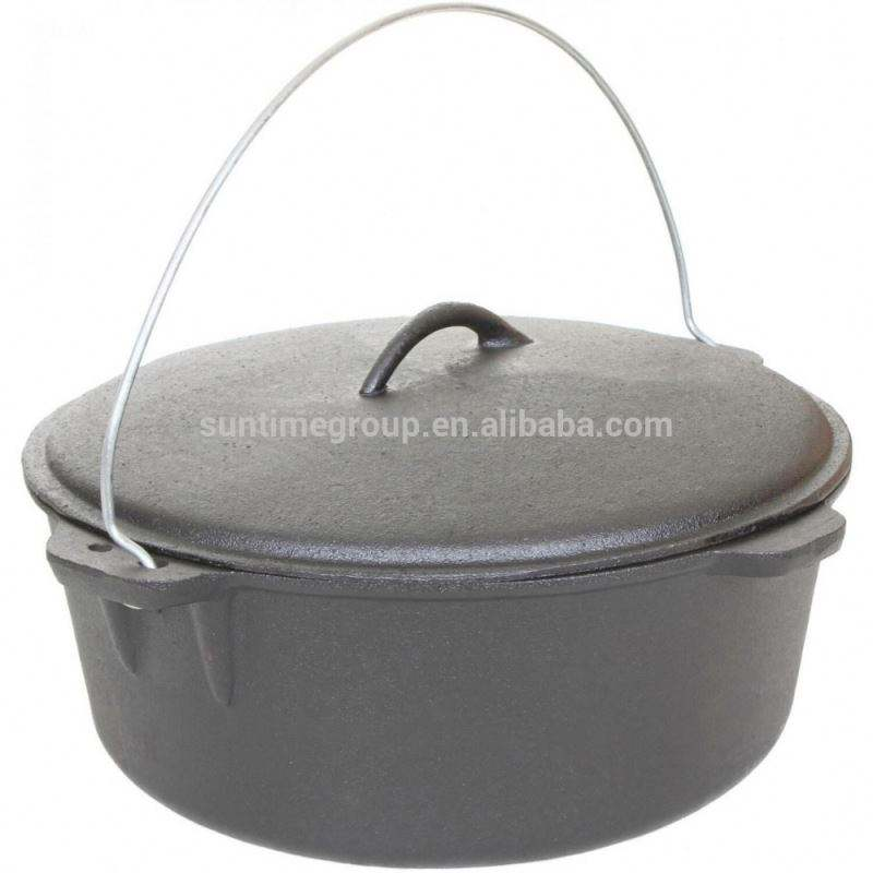 Non Enamel Cast Iron Dutch Oven for Camping