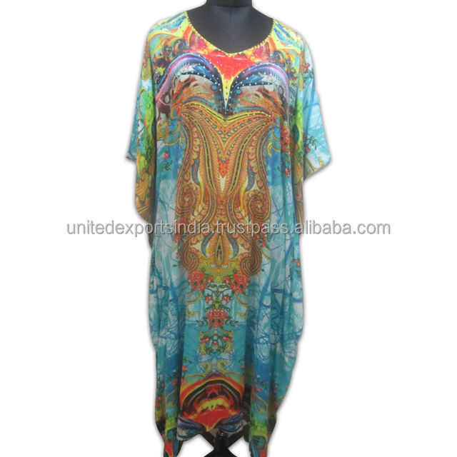 Multi Printed Digital Silk Crepe Kaftan