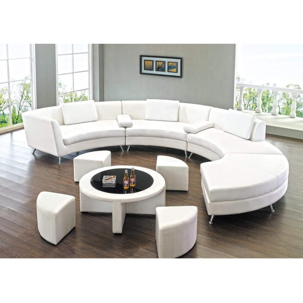 Roller White Leather Round Corner Sofa for Hotel Lounge and Club SL901