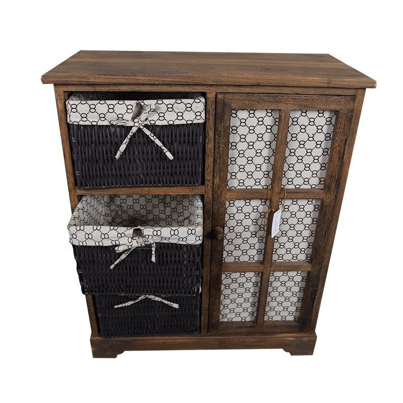 Factory Price Customized Country Living Room Furniture Set Wicker Work Basket Corner Solid Wooden Cabinet