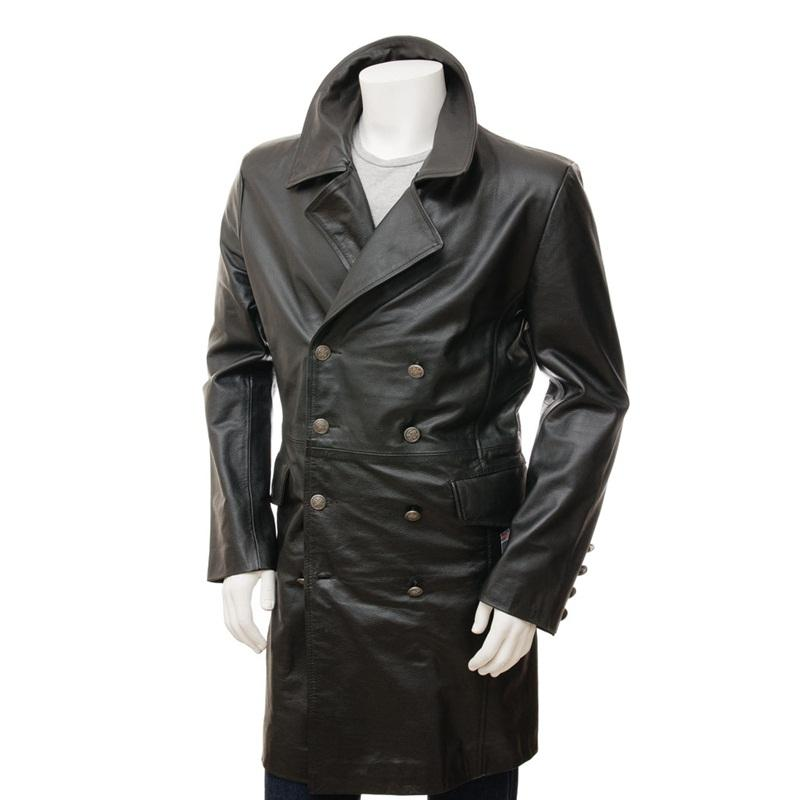 Men's Black Leather Greatcoat / Long Trench Men Black Leather Latest Fashion Coat