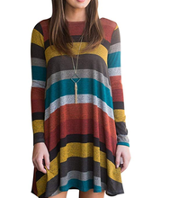 Women's Crew Neck Long Sleeve Casual Swing Tunic Shirt Dresses Loose Striped Midi Dresses with Pockets