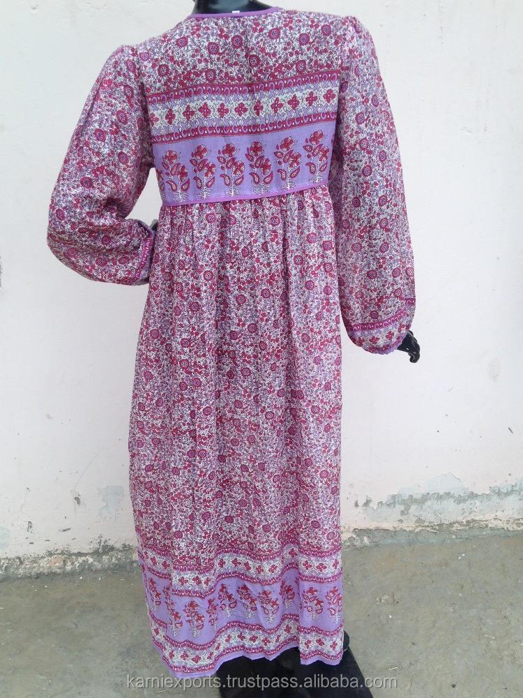 Karni new vintage Maxi Dress với Dân Tộc Cổ Điển in Ấn Độ cotton in Dresses cho cô gái womens & mặc mùa hè 2017
