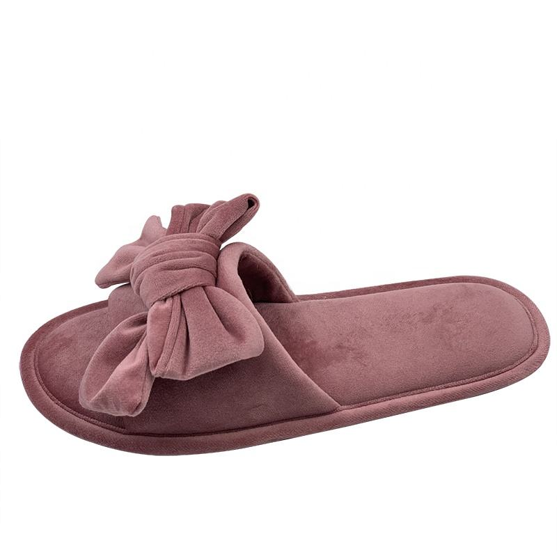 Chinese Custom Open Toe Bowknot Slippers Pink Velvet Slippers Women with TPR Sole