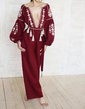 Boho Ethnic Style Embroidered Jumpsuit, Flax Linen with tassels and pockets sand embroidery jumpsuit