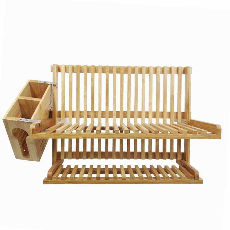 100% Natural bambú Moso plegable plato Rack estante placa de bambú plato de secado Rack