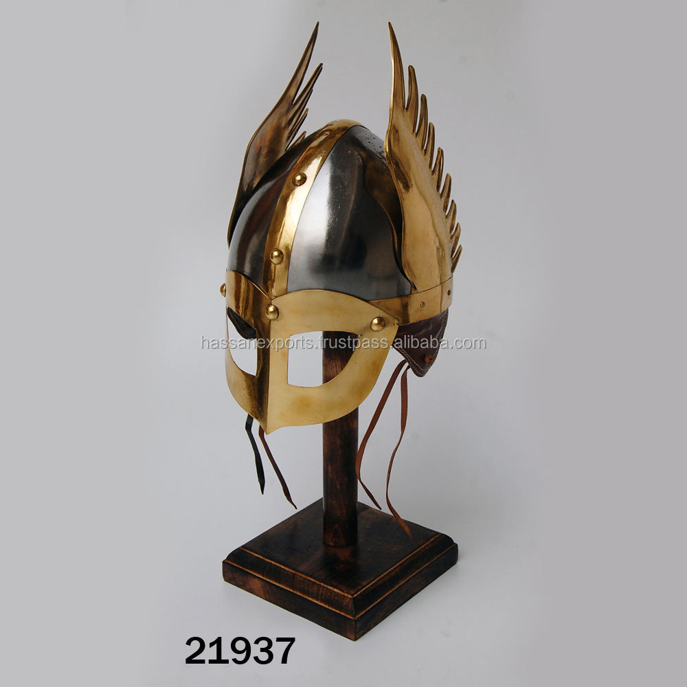 Brass Medieval Armor Knight Helmet With Wings & Mask