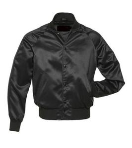 Black Satin Polyester Varsity Letterman College Baseball Bomber Jacket All Black