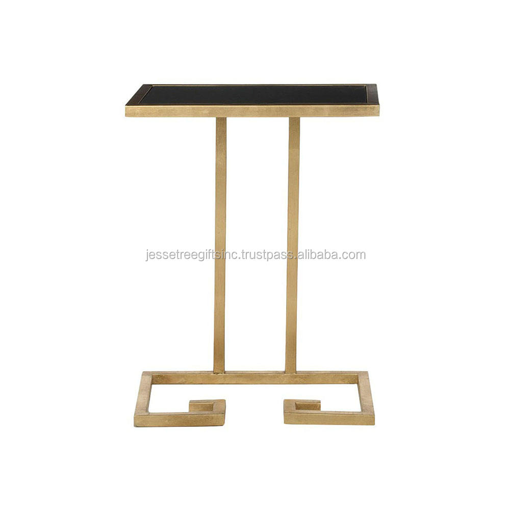 Modern Metal Accent Coffee Table With Rectangular Leatherette Top Gold Color For Garden & Living Room Mild Steel