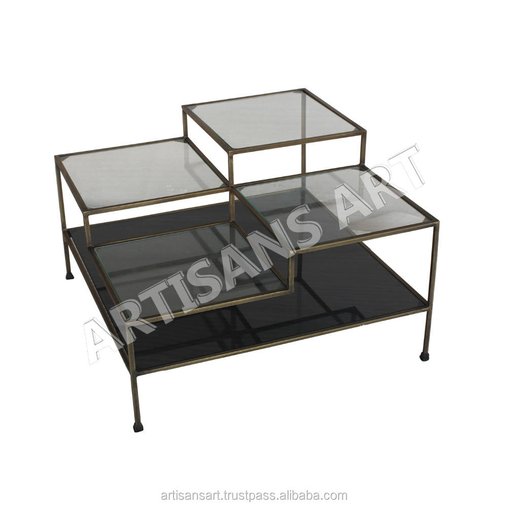 Modern Metal Glass Coffee Table, Rustic Antique Brass Finished Metal Accent Cocktail Coffee Table with Glass Shelf