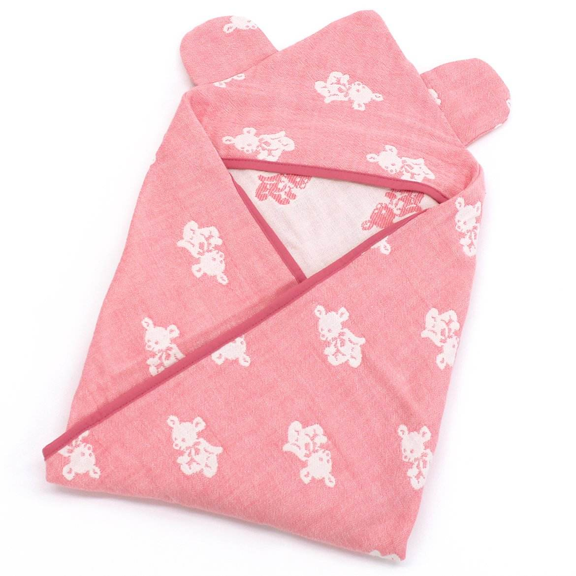 4 layer gauze swaddling clothes with hood. made in Japan cotton 100% Hooded Baby swaddle blanket Pink