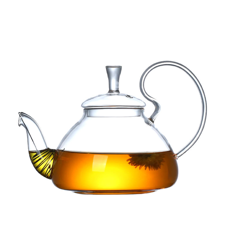 600ml 21oz Large Handle Flower Herbal Glass Teapot