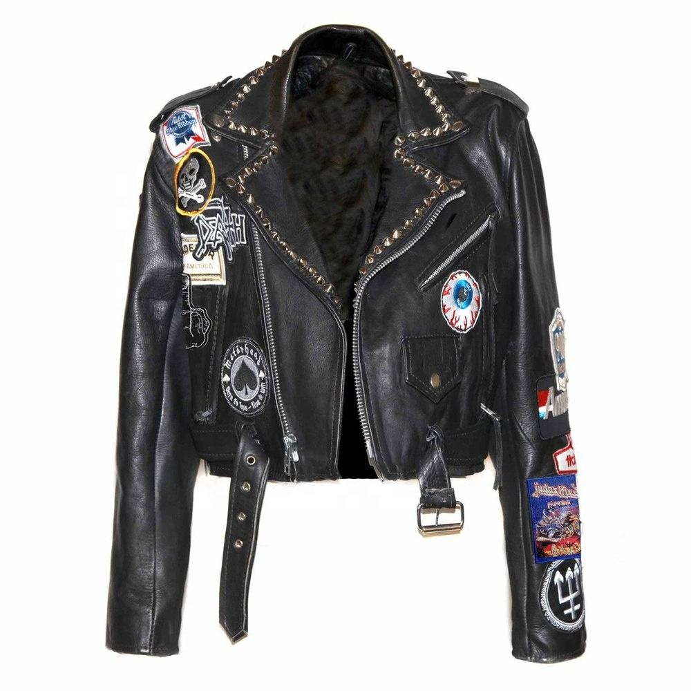 Customized 패션 착용 펑크 patches style women's stylish 박힌 소 leather 블루종 2019 designed 숙 녀 jacket