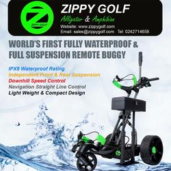 World's First Fully Waterproof & Full Suspension Electric Golf Trolley