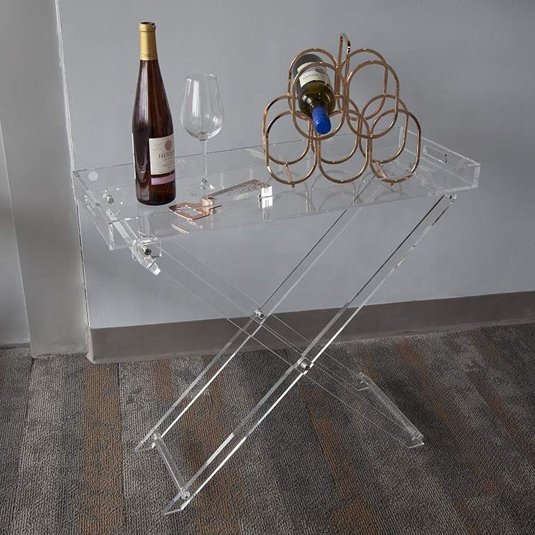 Design moderne Transparent En Plexiglas Clair Cuisine et Bar Servant Table Acrylique Table Pliante